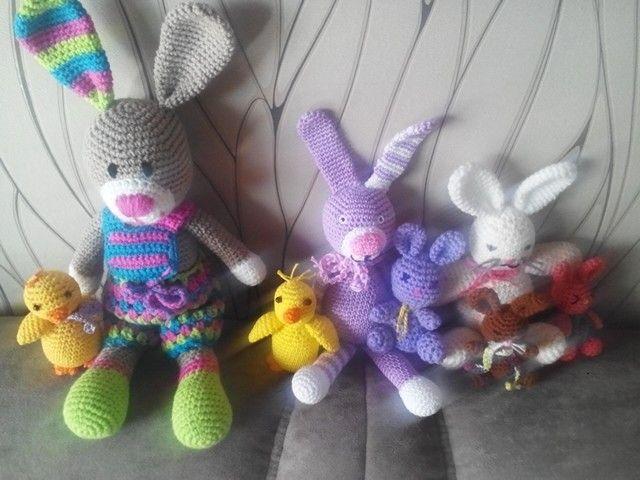 Meine Osterhäkeleien kleine Hasen aus der Amugurumi 1 große Hasen ohne ANLEITUNG Küken nach Wollobies