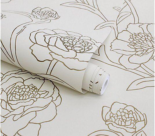 Tempaper 20 5 X 33 Self Adhesive Peony Print Wallpaper Qvc Com Print Wallpaper Peony Print Self Adhesive Wallpaper