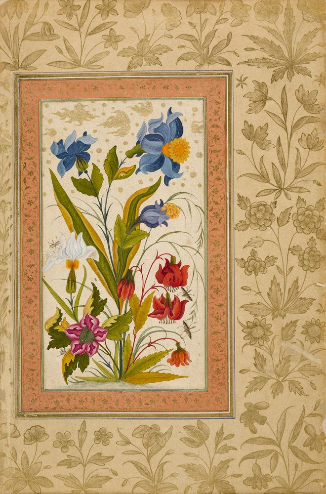 AKG Anonymous: Flowers / Indian miniatures. Art Print