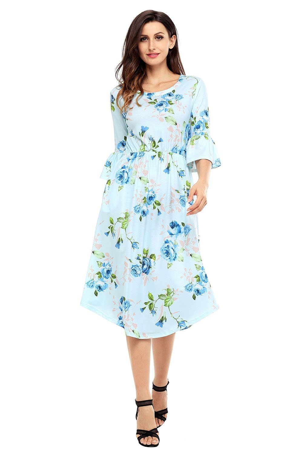 b03fd5d51ad Light Blue 3/4 Bell Sleeve Floral Midi Dress in 2019 | Products ...