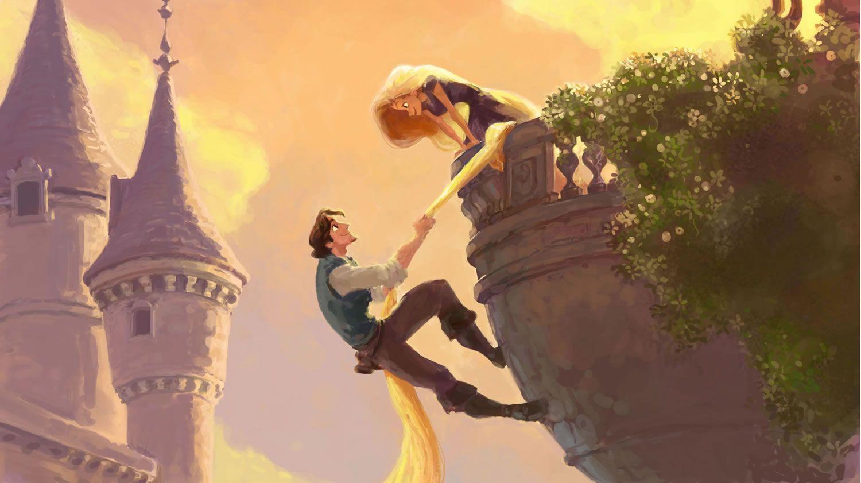 Tangled Rapunzel And Finn Holding Hair