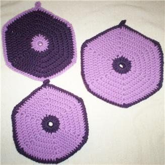 Extra Thick #Crochet #Potholders and Hotplate in #Purple Shades 3pc Set #handmade #thecraftstar $6.00