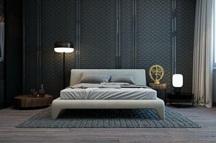 Wohnideen Schlafzimmer Ausgefallener Bodenbelag Und Schöner Teppich Schicke  Wandgestaltung