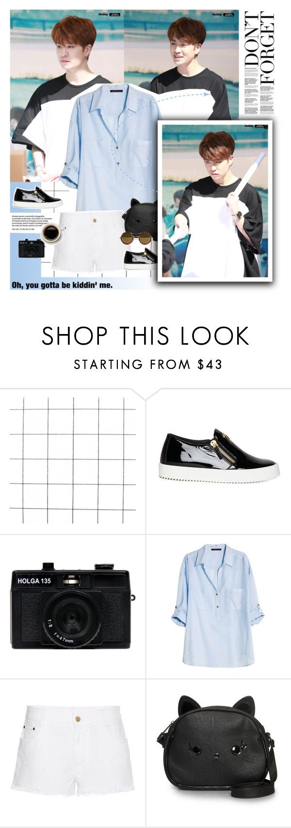 """Always be happy."" by blue-park ❤ liked on Polyvore featuring Giuseppe Zanotti, Holga, Violeta by Mango, STELLA McCARTNEY, Loungefly, Kyme, vintage, youngjae and GOT7"