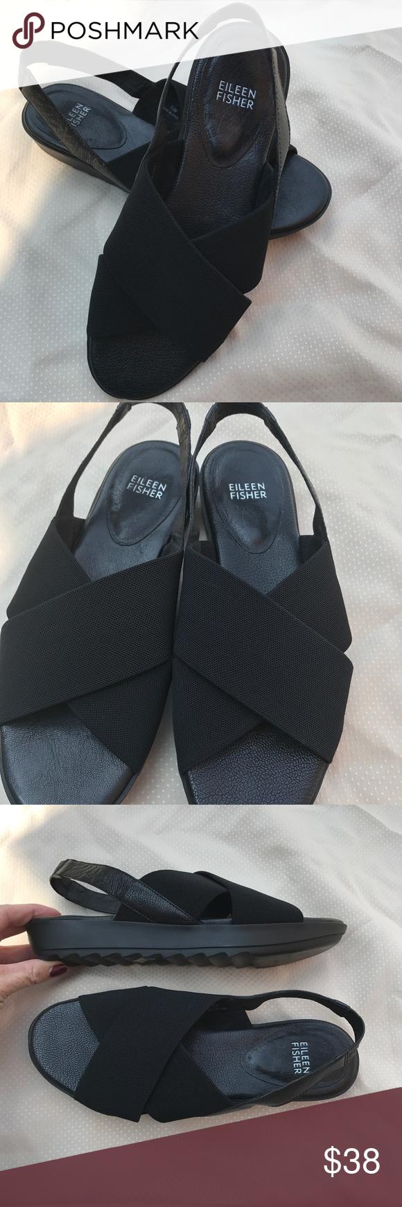 a7c42847cf2 Eileen Fisher 8.5 Trek Mesh Slingback sandal black Eileen Fisher size 8.5  black Trek Mesh Slingback