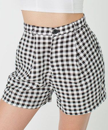 Another great find on #zulily! Black & White Gingham Relaxed Pleated Shorts - Women #zulilyfinds $30