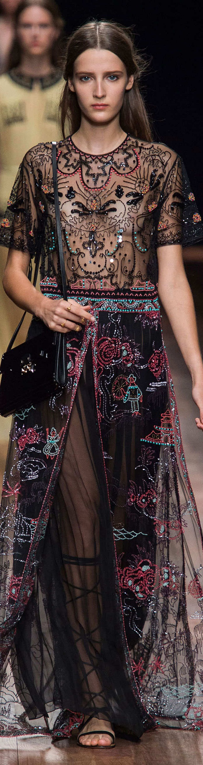 Valentino Collection  Spring 2015 Sheer and embellished, this dress in trend for next year. I wonder which A-lister will dare to bare on the upcoming red carpets?