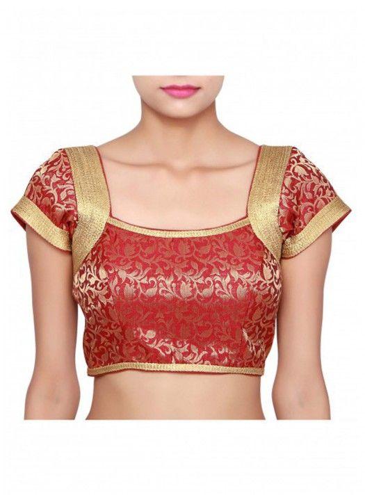95d1141220fda5 Maroon Brocade Printed Blouse Material | Designer blouse | Blouse ...