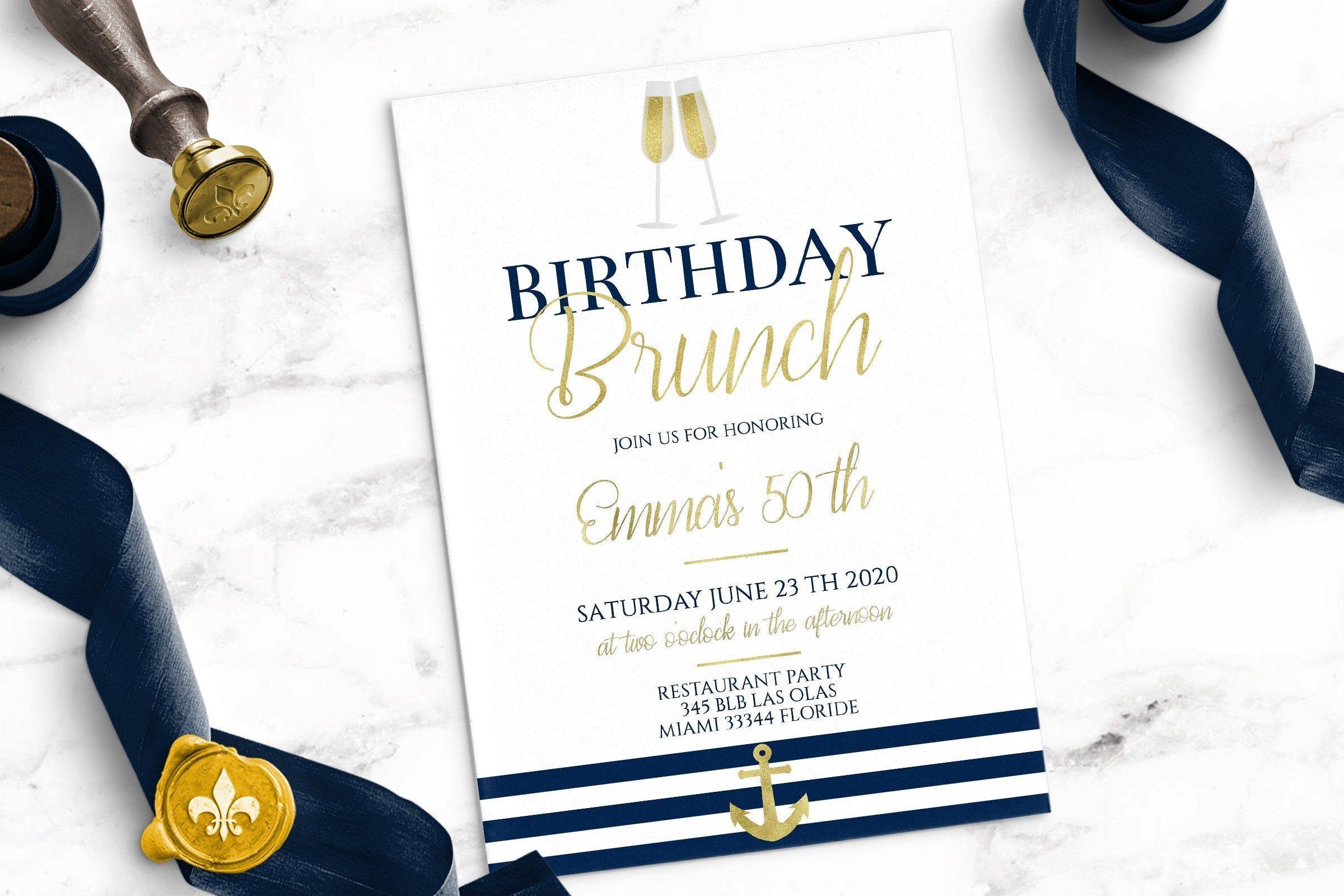 Anniversaire Invitation cartes Brunch anniversaire Brunch invitations avec votre texte