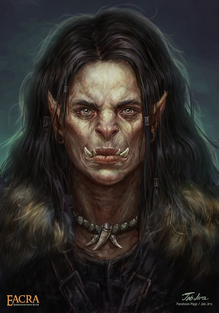 f Half Orc Warlock Leather Armor portrait ArtStation - Her name