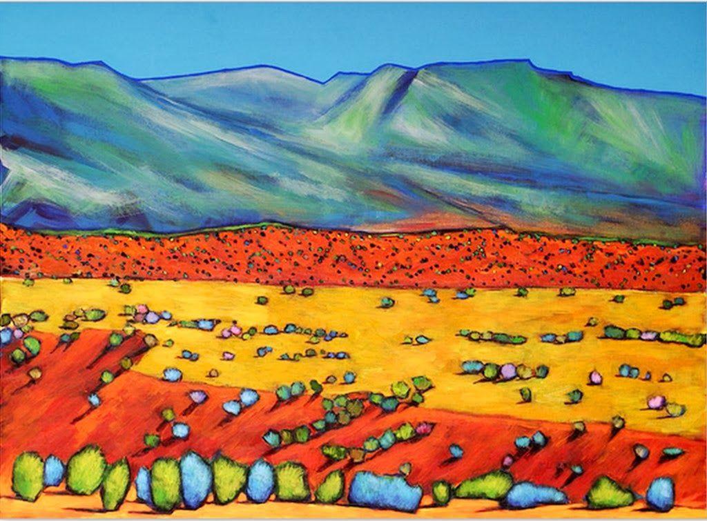 Pintura Y Fotografía Artística Paisaje Con Arboles Y Montañas