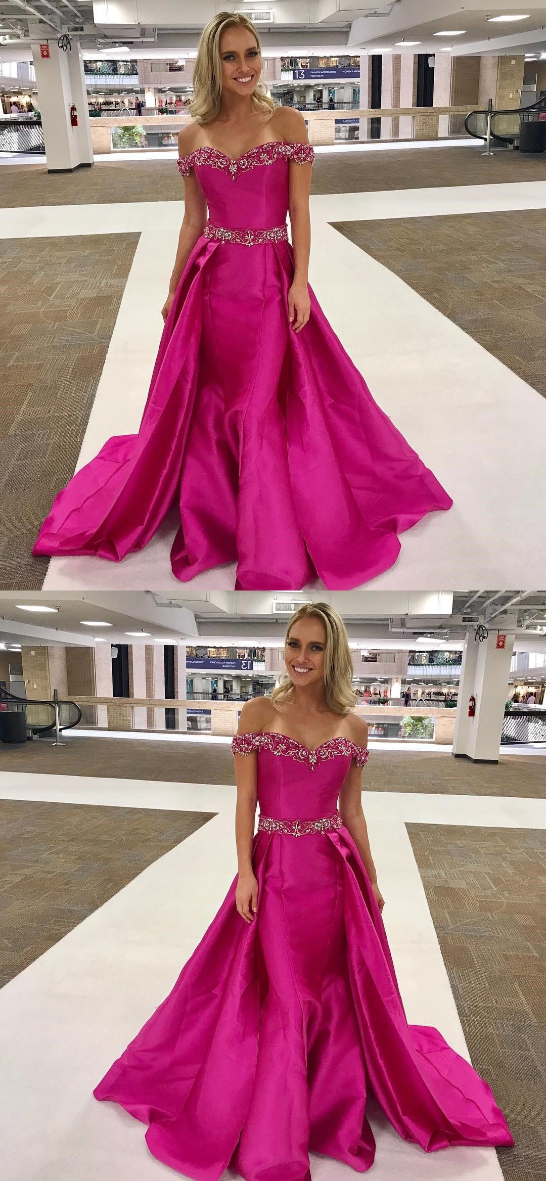 Fuchsia Satin Beaded Off Shoulder Long Prom Dresses with Over Skirt ...