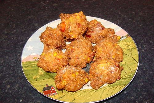 Bacon and Corn Nuggets (plus variations)  I cannot wait to try these!! The nursing home occasionally served corn nuggets and they didn't have bacon in them. I always asked for any leftover corn nuggets from the kitchen and shocked em when I raved about a veggie, which I normally refused to eat! Soooo yummy looking.