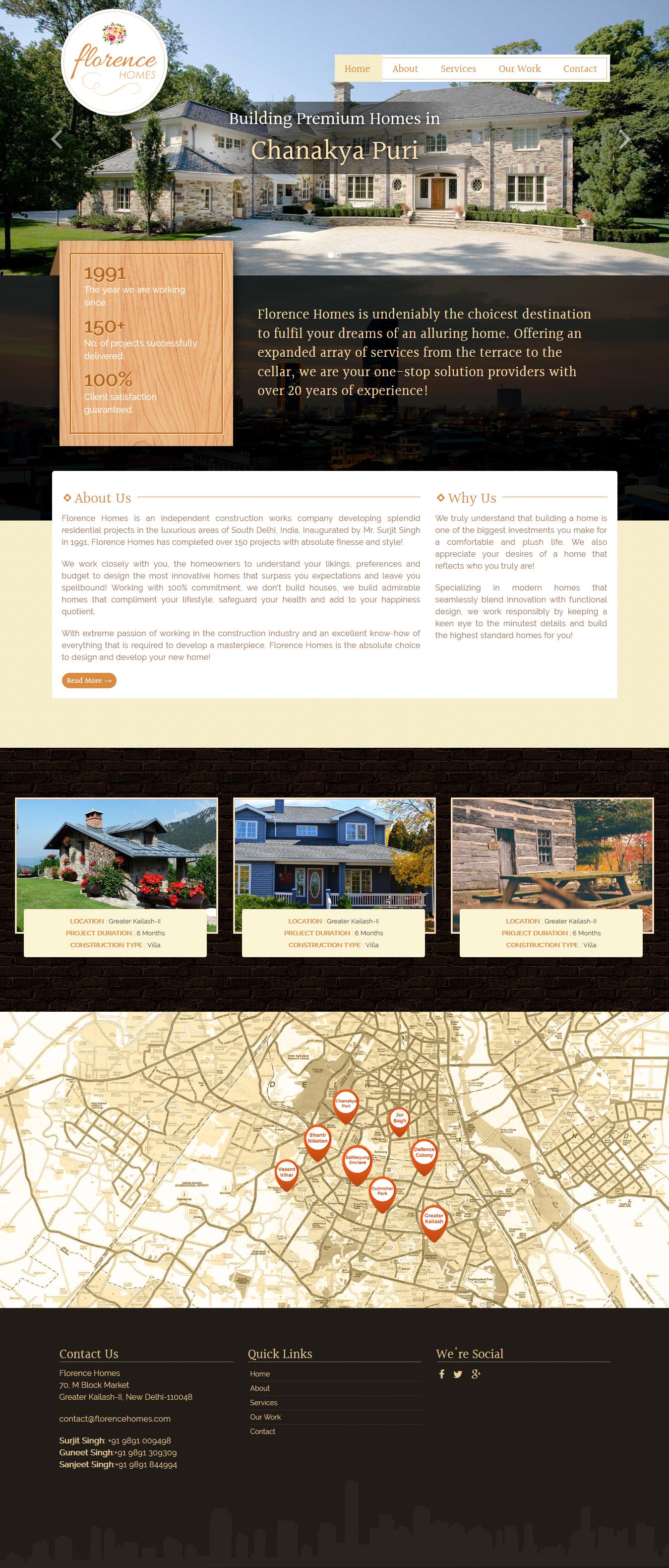 Website Design For A Premium Home Builders In Delhi, India