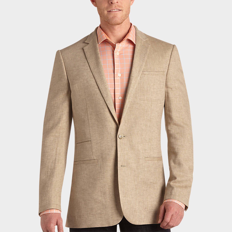 Egara tan herringbone slim fit sport coat mens