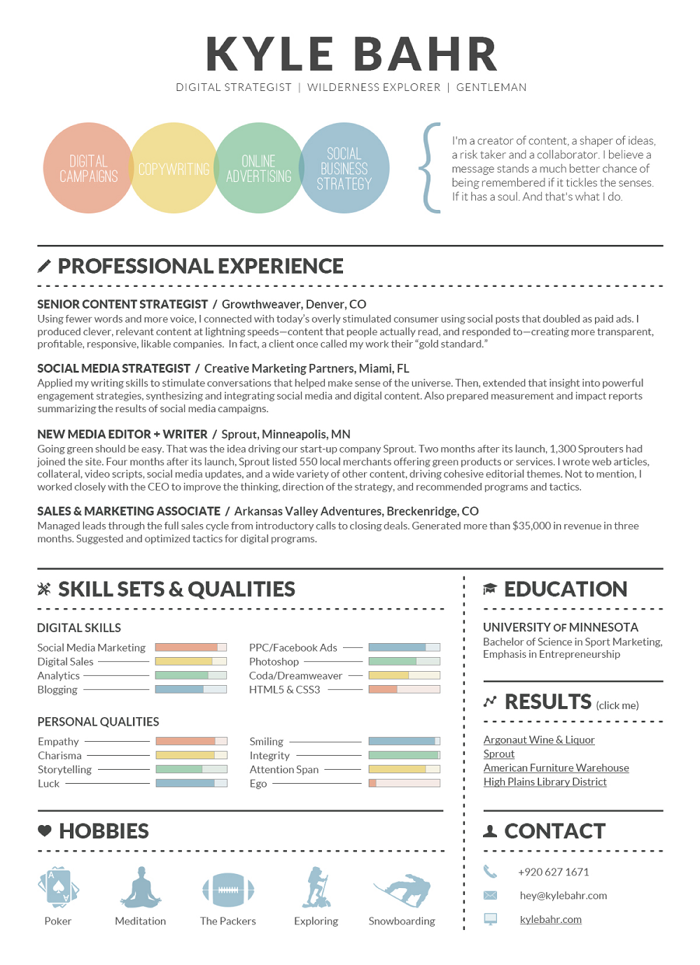 Digital Strategist Infographic Resume Kyle Bahr Visualresume Infographicresume Infographic Resume Visual Resume Digital Marketing Strategist