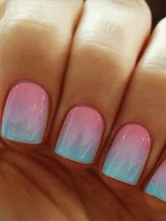 Pink and aqua ombre | Nailed it | Fun nails, Nail art, Beauty nails