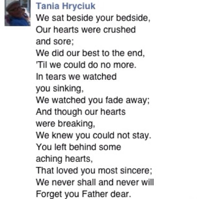 Poem For My Dad After He Passed Away From Cancer In Memory Of My