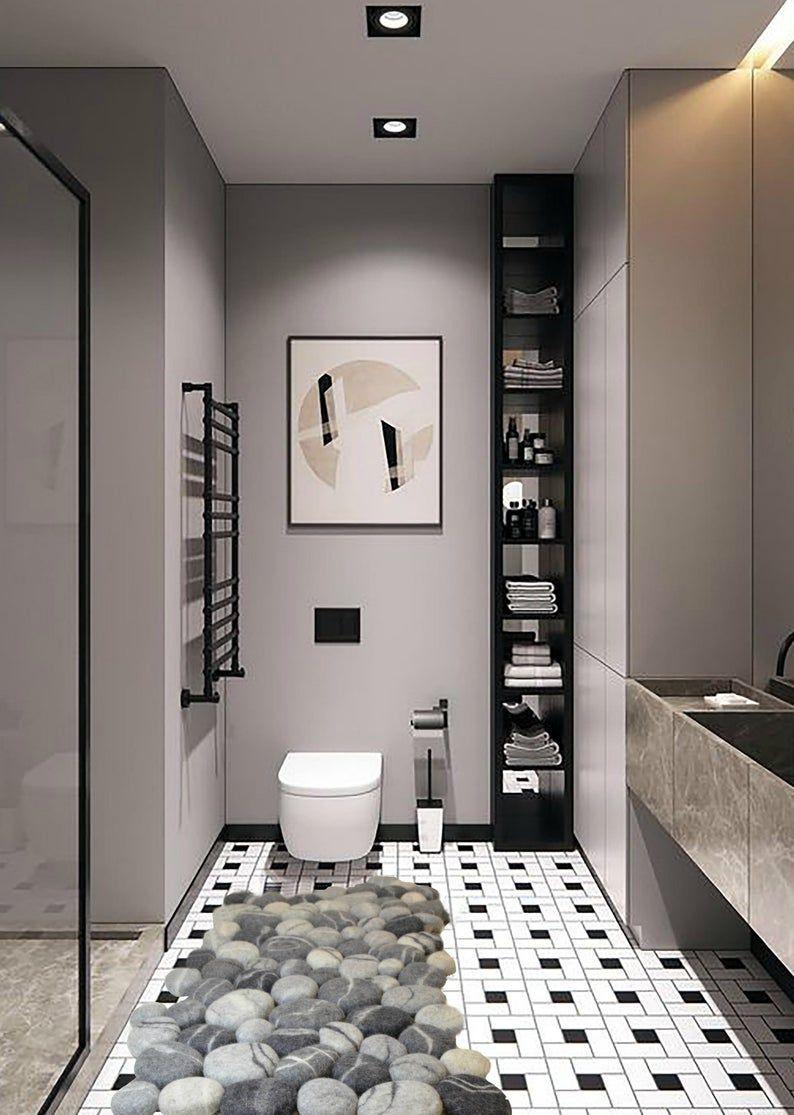 Bois De Rose Arredo Bagno.Felt Stone Rug Felt Carpet Felted Wool Stone Felt Stone Rug Bath Mat Floor Rug Felt Carpet Soft Pebbles Home Decor In 2021 Modern Bathroom Design Black Bathroom Minimalism Interior