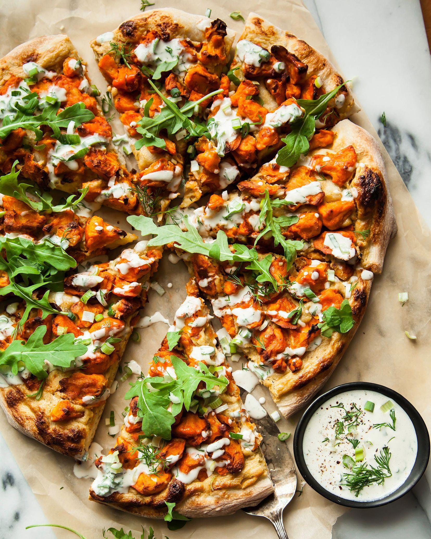 Buffalo cauliflower pizza w roasted onion cream in 2020