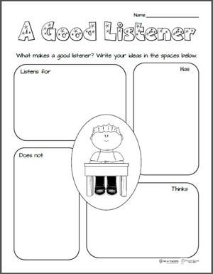 Free Printable: What Makes a Good Listener (Graphic Organizer ...