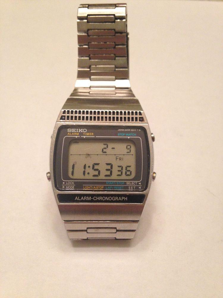 62725f612 VTG Seiko LCD Chronograph Alarm A259-5019 Men wrist watch ~ James Bond  Moonraker