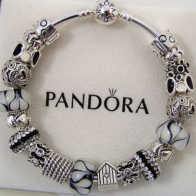 Authentic Pandora Bracelet Bangle Or Clasp Sterling Silver Black