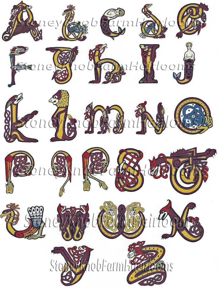 Celtic Alphabet Letters ~ Counted Cross Stitch Individual Patterns - letters in pdf