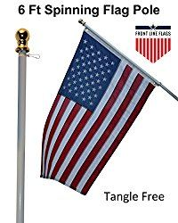 Flag Pole 6 Ft White Aluminum Flagpole Spinning Tangle Free Heavy Duty Wind Resistant And Rust Free Best Quality Wall Mount Flag Pole Front Line F