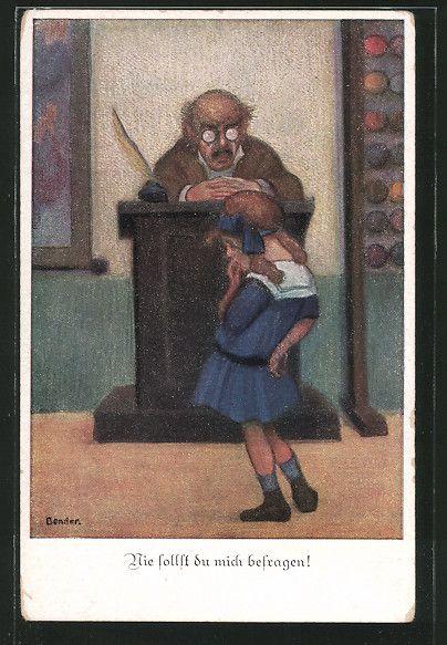 carte postale ancienne: CPA Illustrateur St.Bender: Ansicht eines Filles vor dem Pult des Lehrers