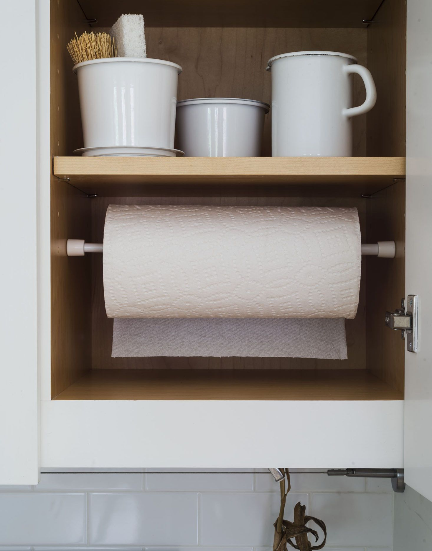 Aha Hack Tension Rod As Paper Towel Holder The Organized Home Kitchen Towels Storage Paper Towel Holder Paper Towel Holder Kitchen