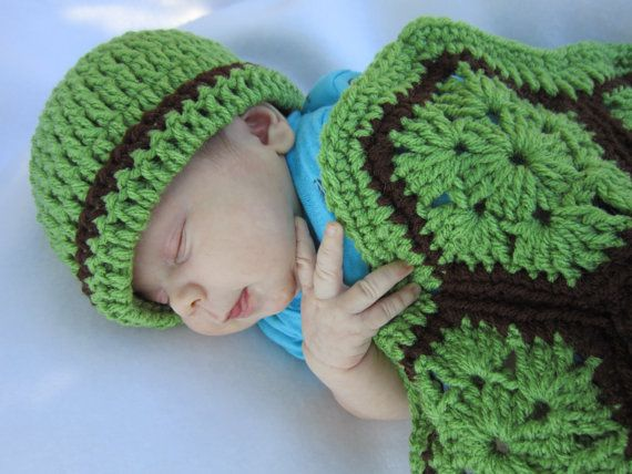 a450407f2fe Crochet Turtle Cover and Hat Green and by crochetedbycharlene  turtle  baby   photoprop