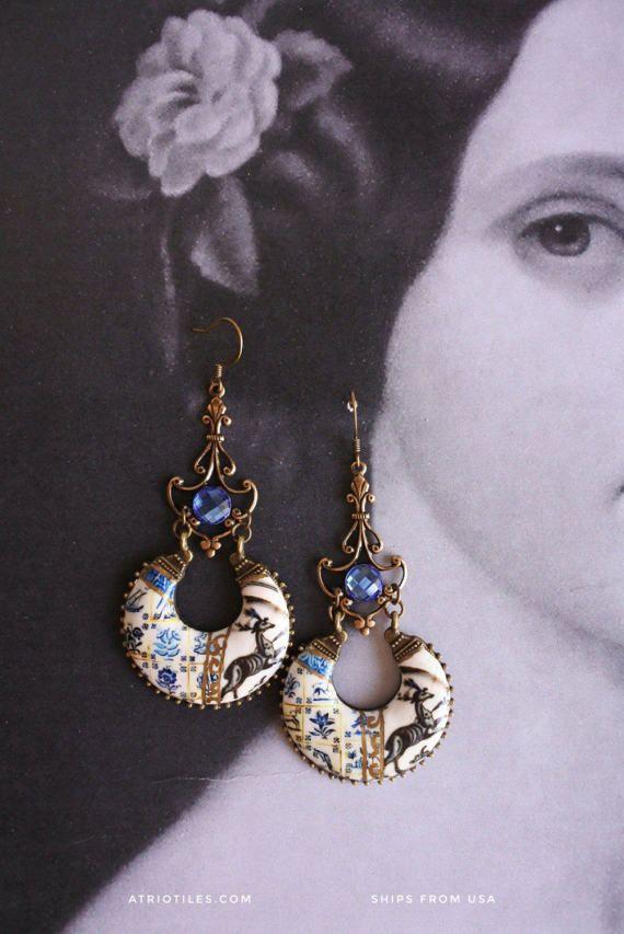 Spanish Talavera De La Reina 17th Century Pottery Replica Chandelier Earrings Whimsical With Azulejo Tiles Eclectic Bohemia Earrings Boho Jewelry Glam Earrings