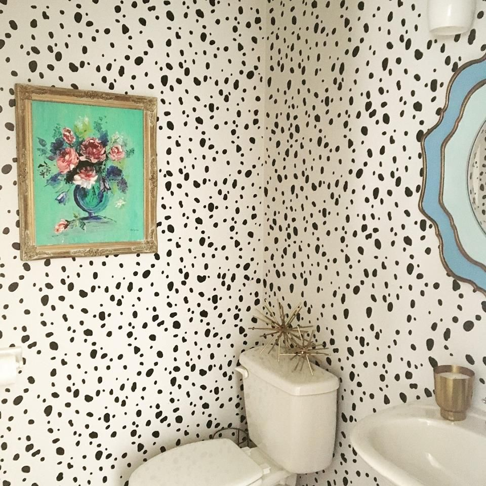 A diy stenciled bathroom that looks like wallpaper that used the a diy stenciled bathroom that looks like wallpaper that used the dalmatian spots allover stencil from amipublicfo Image collections