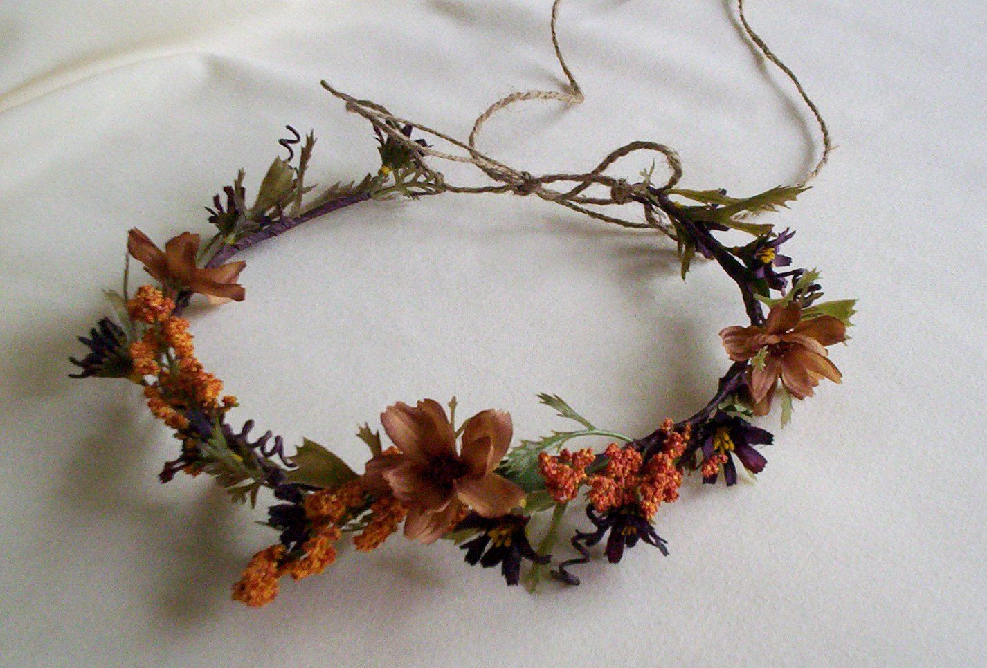 Fall Rustic chic Hair Flower Headwreath Autumn flower crown Woodland Weddings Bridal hairpiece. $36.00, via Etsy.