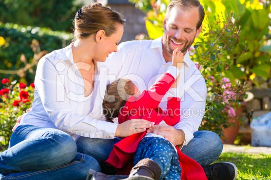 Family on the garden lawn royalty-free stock photo