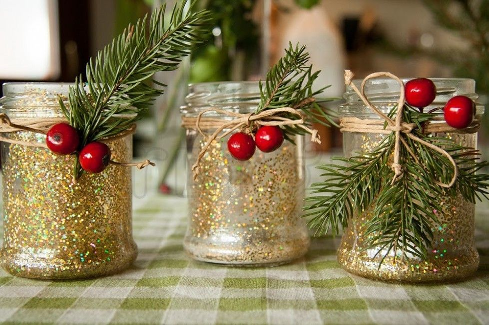 decorazioni di natale con barattoli di vetro - barattolini per