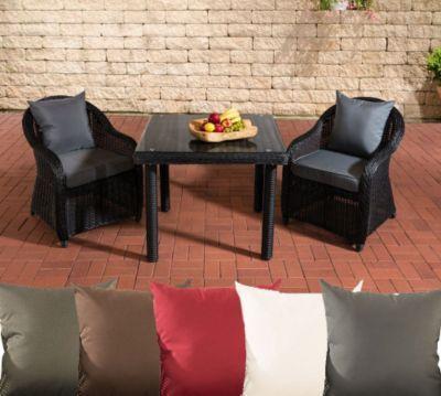 Polyrattan Sitzgruppe SAN JUAN, schwarz, Klarglas, 3 Tischgrößen - gartenmobel polyrattan eckbank