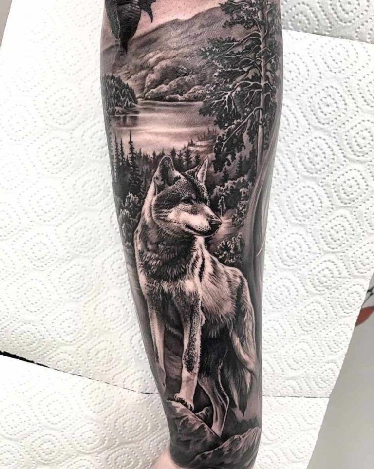 A Wolf Half Sleeve By Enes Habibovic Tattoosformen Half Sleeve Tattoos Drawings Wolf Sleeve Wolf Tattoo Sleeve