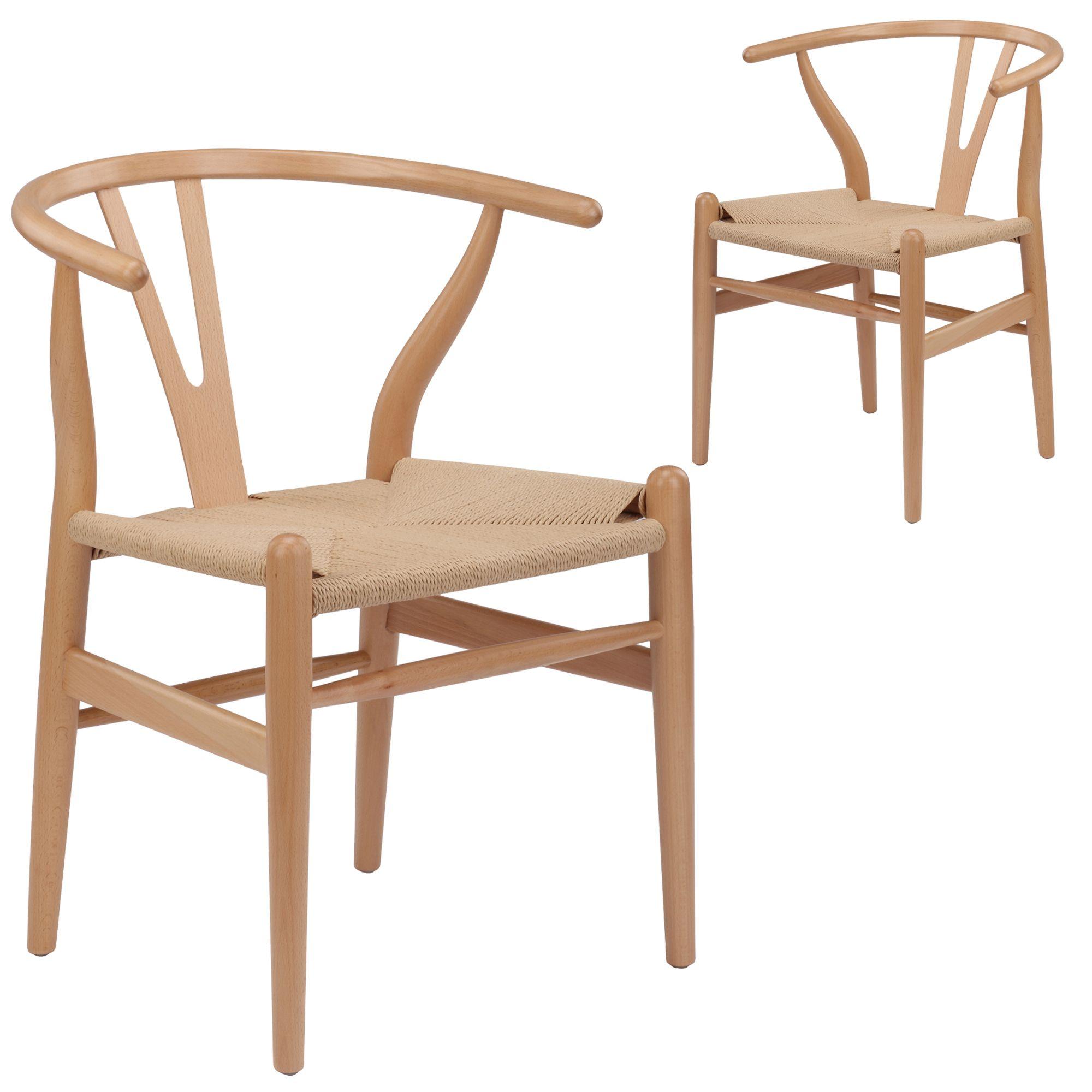 Natural Hans Wegner Replica Wishbone Chair (Set of 2