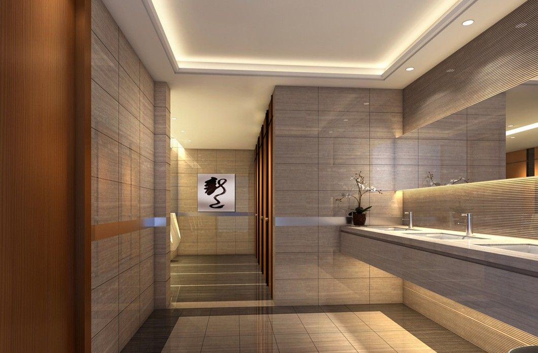 Hotel public toilet indoor lighting design design for Modern apartment bathroom ideas