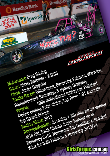 Australian Women in Motorsport Collector/Swap/Trading Card Series  Alexis Barbeler - Drag racer