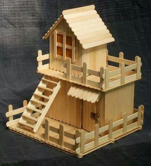 Casa con bastoncini del gelato wood legno noitools for Casette di legno del paese