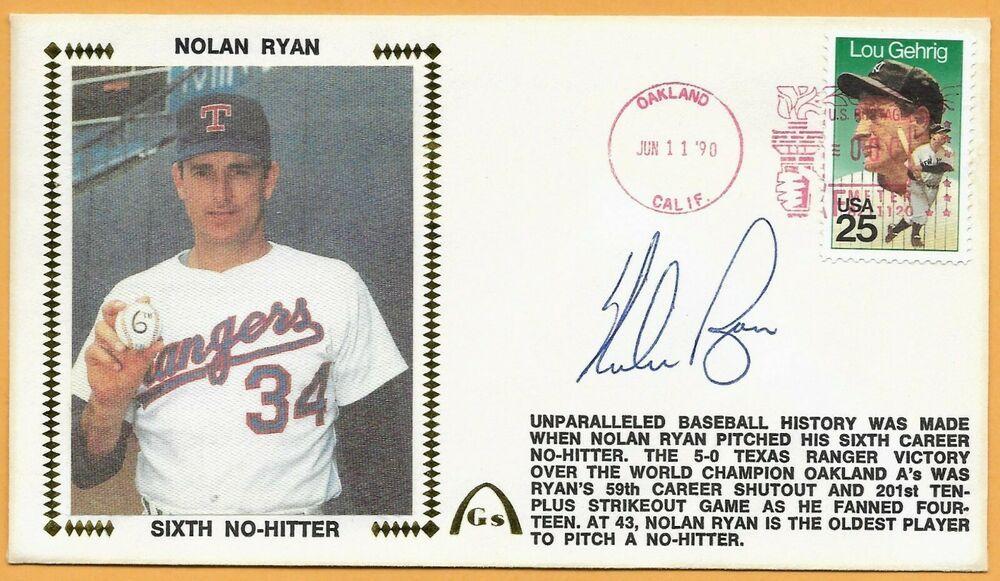 Nolan Ryan 6th No Hitter Autographed Gateway Stamp Envelope Pitney Bowes Cancel Texasrangers Nolan Ryan Envelope Stamp Baseball History