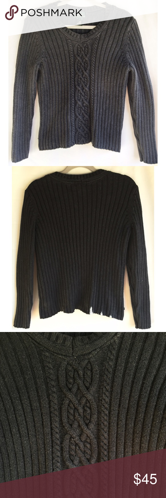 LAUREN RALPH LAUREN  Size S Sweater Actual color is charcoal grey Long sleeve Vneck Twist design down the front Thick  warm 100cotton Hanging measurements Center of back...