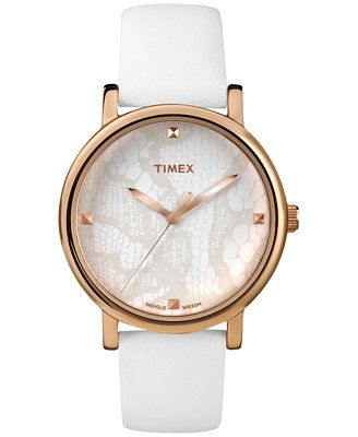Timex Women's Originals Classic White Leather Strap Watch 38mm T2P460AB