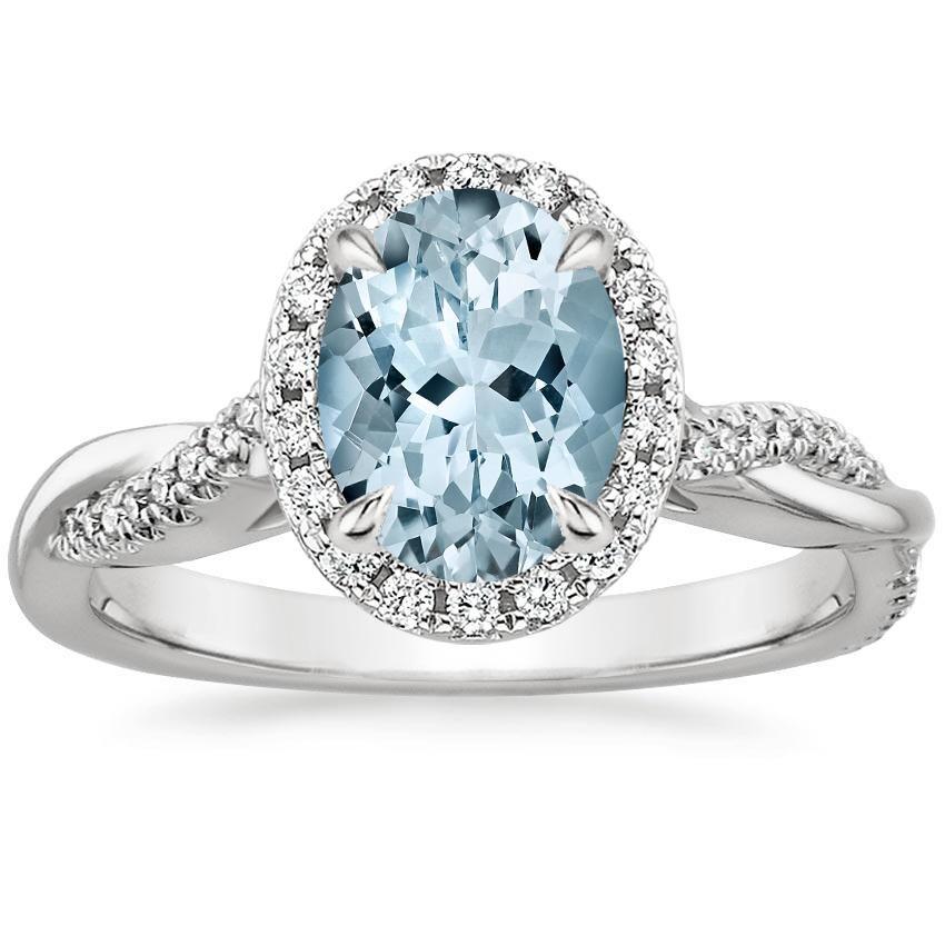 Platinum Aquamarine Petite Twisted Vine Halo Diamond Ring