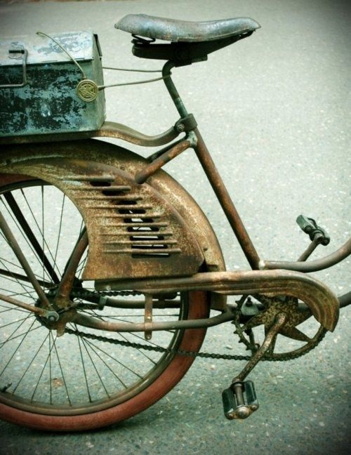 """Bicycle with metal box. A Bike Named """"Oliver"""" by Brenna Giannini."""