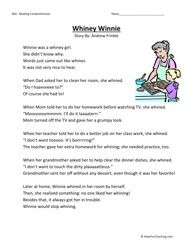 Second Grade Reading Comprehension Worksheet - Whiney Winnie ...