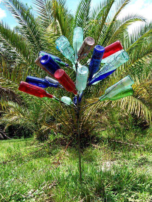 Big 28 BOTTLE TREE Garden Art Lawn Wine Decor Stake By Hopfrogs, $59.99